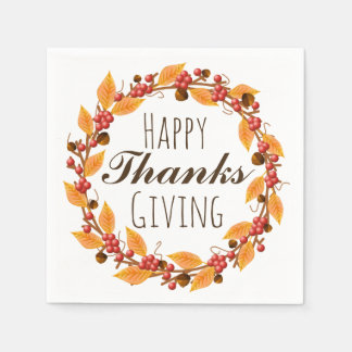 Happy Thanksgiving Fall Autumn Leaves Wreath Paper Napkin