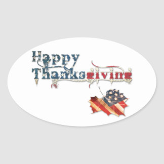 happy thanksgiving (fall flag) oval sticker