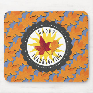 Happy Thanksgiving Fall Oak Leaf Mouse Mat