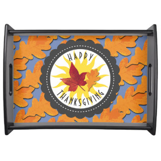 Happy Thanksgiving Fall Oak Leaf Serving Tray