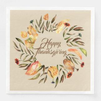 Happy Thanksgiving Fall Wreath Napkins Paper Serviettes