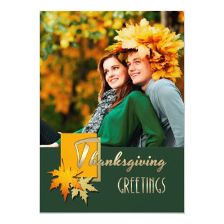Happy Thanksgiving. Falling Leaves Photo Cards Custom Invitation