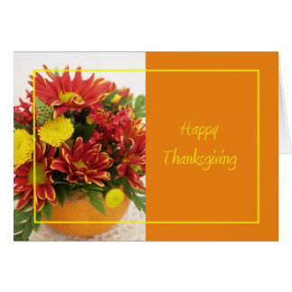 Happy Thanksgiving Flowers Greeting Card