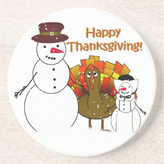 Happy Thanksgiving from Snowy Pilgrims Beverage Coasters