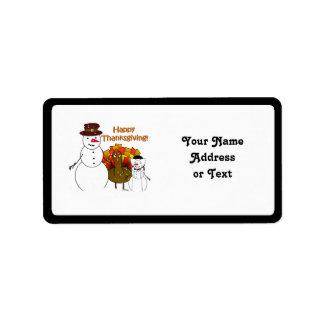 Happy Thanksgiving from Snowy Pilgrims Address Label