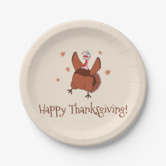 Happy Thanksgiving Funny Turkey Paper Plate