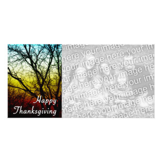 happy thanksgiving ghost tree photo card