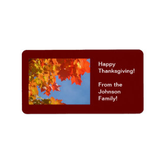 Happy Thanksgiving! gift tags From the Family Address Label