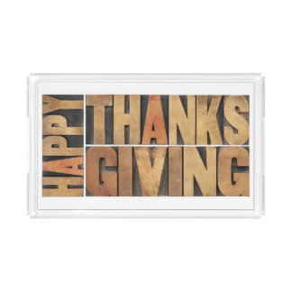 Happy Thanksgiving - Greetings Or Wishes Acrylic Tray