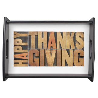 Happy Thanksgiving - Greetings Or Wishes Serving Tray