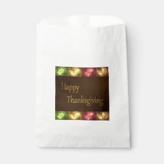 Happy Thanksgiving Grunge Leaves - Favor Bag
