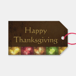 Happy Thanksgiving Grunge Leaves - Gift Tag