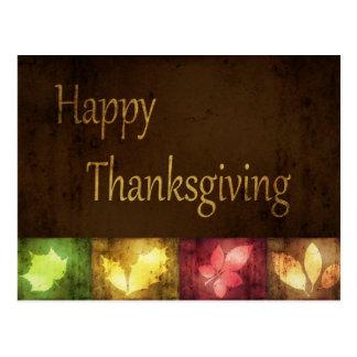 Happy Thanksgiving Grunge Leaves - Postcard