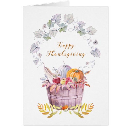 Happy Thanksgiving Harvest Blessings Pumpkins Card