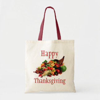 Happy Thanksgiving Horn of Plenty Cornucopia Fall Budget Tote Bag