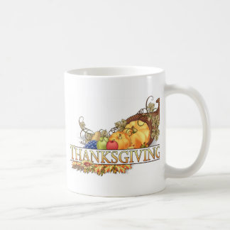 Happy Thanksgiving Horn Of Plenty Coffee Mugs