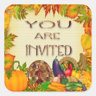 Happy Thanksgiving Invitation Envelope Seals Square Sticker