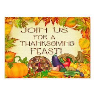 "Happy Thanksgiving Invitations 5"" X 7"" Invitation Card"