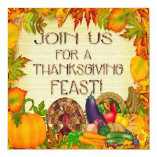 """Happy Thanksgiving Invitations 5.25"""" Square Invitation Card"""