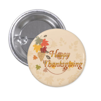 Happy Thanksgiving - Leaves, Grapes and Ribbons 3 Cm Round Badge