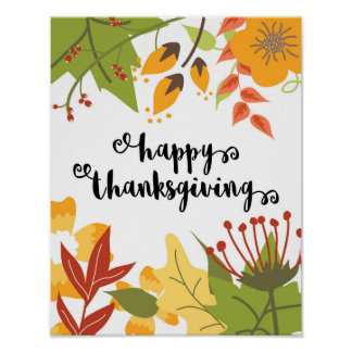 Happy Thanksgiving - Leaves - Poster
