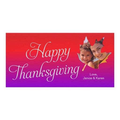 Happy Thanksgiving Maple Leaf Photo Card