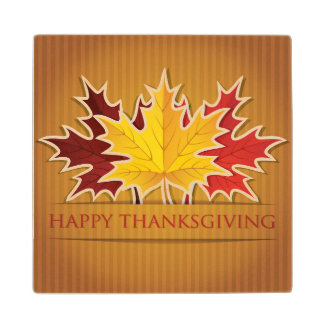 Happy Thanksgiving! Maple Wood Coaster