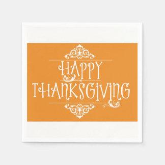 Happy Thanksgiving Orange Disposable Serviettes