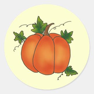 Happy Thanksgiving Orange Pumpkin Green Leaves Round Sticker