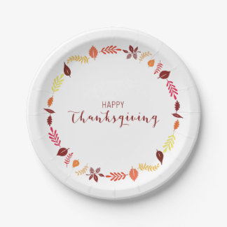 Happy Thanksgiving Paper Plates Autumn Leaves