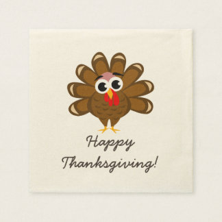 Happy Thanksgiving party napkins with funny turkey Paper Serviettes