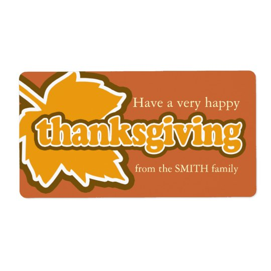 Happy Thanksgiving Personalised Label