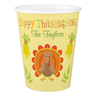 Happy Thanksgiving Personalized Dinner Paper Cup