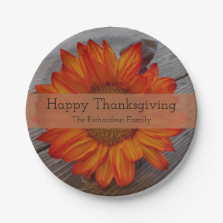Happy Thanksgiving Personalized Sunflower Paper Plate