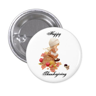 Happy Thanksgiving Pin Round and Square