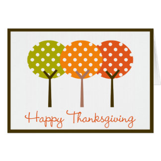 Happy Thanksgiving Polka Tree Folded Card