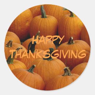 happy Thanksgiving, pumpkins Classic Round Sticker