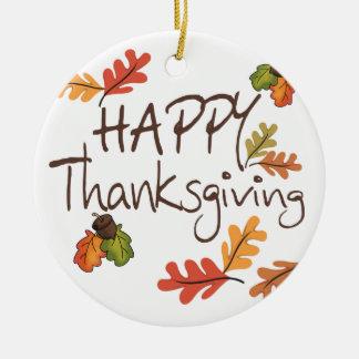 Happy Thanksgiving Round Ceramic Decoration