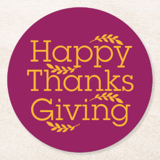 Happy Thanksgiving Round Paper Coaster
