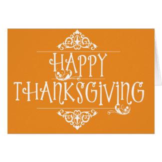 Happy Thanksgiving Script Orange Card