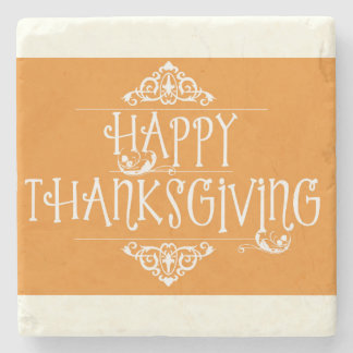 Happy Thanksgiving Script Orange Stone Coaster
