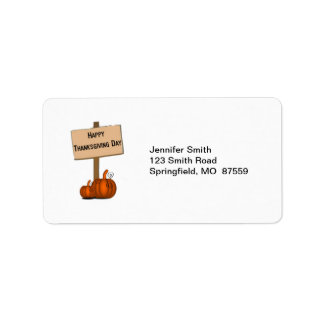 Happy Thanksgiving Sign Address Label