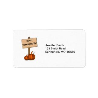 Happy Thanksgiving Sign Address Label
