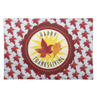 Happy Thanksgiving Sky and Fall Leaves Placemat