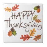 Happy Thanksgiving Small Square Tile