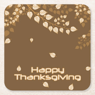 Happy Thanksgiving Square Paper Coaster