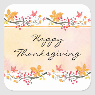 Happy Thanksgiving Square Sticker 3 inch