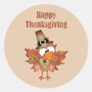 Happy Thanksgiving Sticker with Turkey