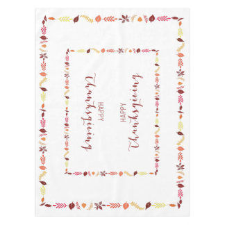 Happy Thanksgiving Table Cloth Fall Leaves