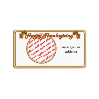 Happy Thanksgiving Text Design  Photo Frame Address Label